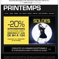 Magasin PRINTEMPS: -20% supplémentaires sur les articles soldés!