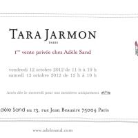 Invitation vente privée TARA JARMON chez Adèle Sand