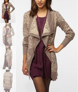Reversible Intarsia Knit Cardigan