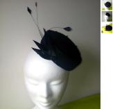 Chapeau pillbox noir feutrine plumes d'oie style années 50