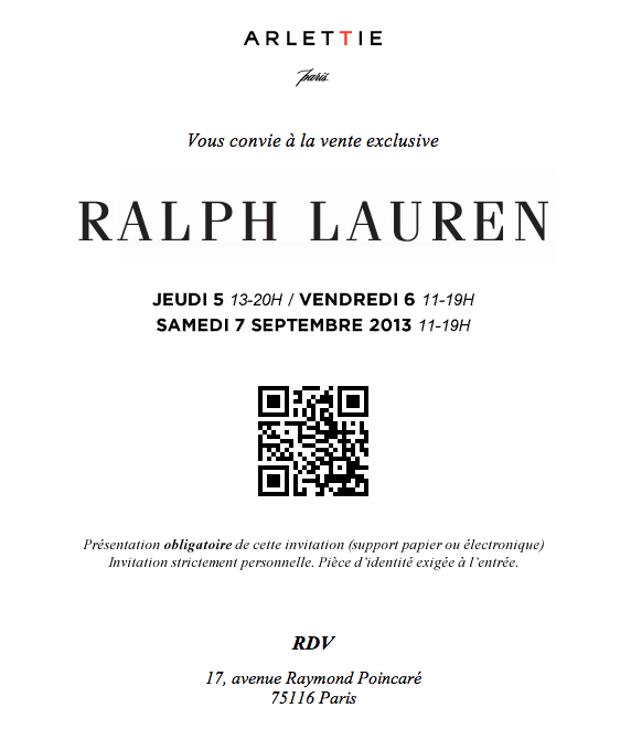 invitation la vente priv e ralph lauren. Black Bedroom Furniture Sets. Home Design Ideas